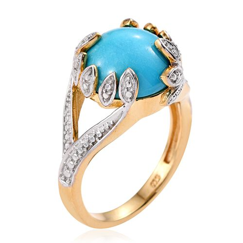 Arizona Sleeping Beauty Turquoise (Rnd) Solitaire Ring in 14K Gold Overlay Sterling Silver 5.000 Ct.