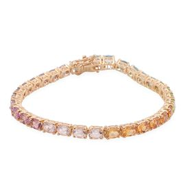 Citrine (Ovl), Pink Tourmaline, Electric Swiss Blue Topaz, Rose De France Amethyst, Hebei Peridot, Tanzanite and Multi Gem Stones  Bracelet (Size 7.25) in 14K Gold Overlay Sterling Silver 12.000 Ct.