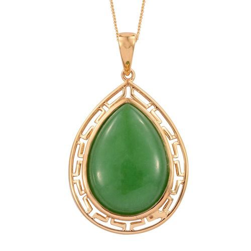 Green Jade (Pear) Pendant With Chain in 14K Gold Overlay Sterling Silver 19.500 Ct.