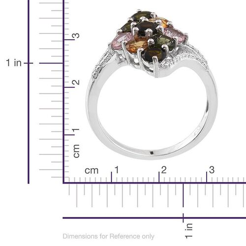 Rainbow Tourmaline (Rnd) Ring in Platinum Overlay Sterling Silver 2.250 Ct.