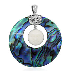 Princess Bali Collection OX Bone Carved Face and Abalone Shell Pendant in Sterling Silver 37.000 Ct.