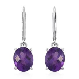Amethyst (Ovl) Lever Back Earrings in Platinum Overlay Sterling Silver 4.750 Ct.