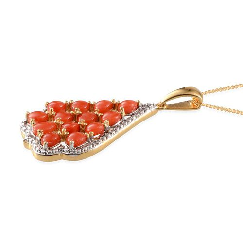 Mediterranean Coral (1.65 Ct) and Diamond 14K Gold Overlay Sterling Silver Pendant With Chain  1.660  Ct.