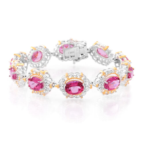 New York Closeout-Mystic Pink Coated Topaz (Ovl) Bracelet (Size 6.5) in Rhodium and Gold Overlay Sterling Silver 18.000 Ct.