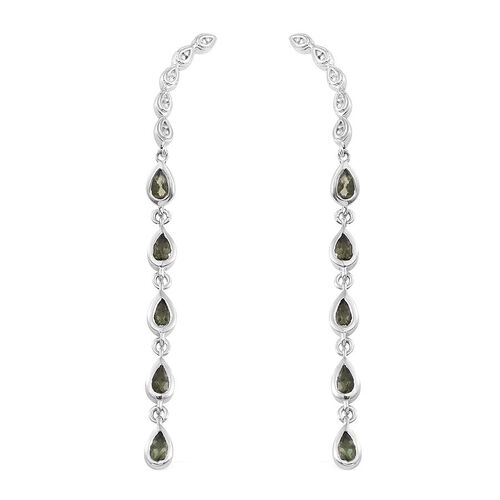 Bohemian Moldavite (Pear) Climber Earrings in Platinum Overlay Sterling Silver 1.500 Ct.