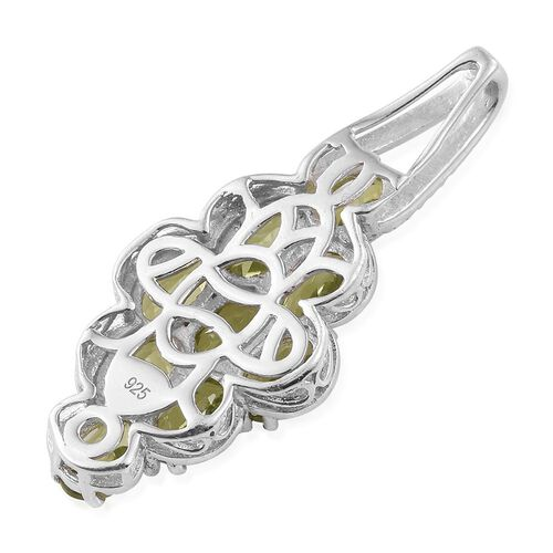 Hebei Peridot (Ovl) Pendant in Platinum Overlay Sterling Silver 4.500 Ct.