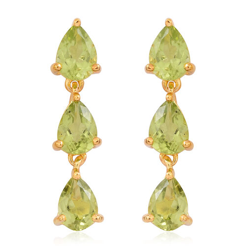 Hebei Peridot (Pear) Earrings (with Push Back) in 14K Gold Overlay Sterling Silver 4.000 Ct.
