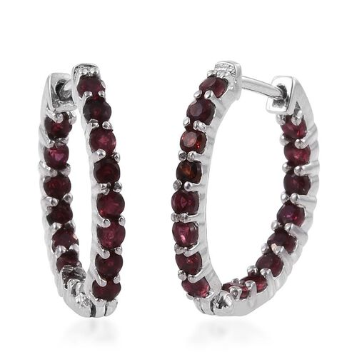 Mahenge Spinel (Rnd) Hoop Earrings in Platinum Overlay Sterling Silver 1.500 Ct.