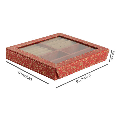 Hand Crafted - Eco Leatherette Paisley Pattern Red and Golden Colour Ring and Earrings Storage Box (Size 24x22x4 Cm)