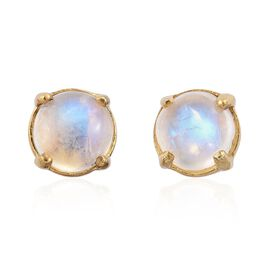 Rainbow Moonstone (Rnd) Stud Earrings (with Push Back) in 14K Gold Overlay Sterling Silver 2.000 Ct.