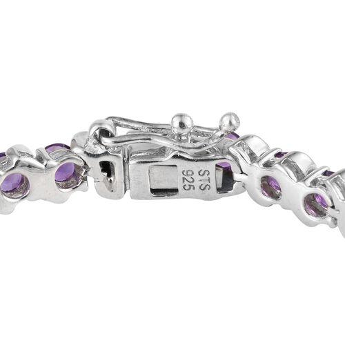 Amethyst (Rnd) Bracelet (Size 7.25) in Platinum Overlay Sterling Silver 6.500 Ct.