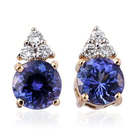 ILIANA 18K Yellow Gold AAA Tanzanite Round, Diamond (SI G-H) Earrings 1.90 Carat with Screw Back.