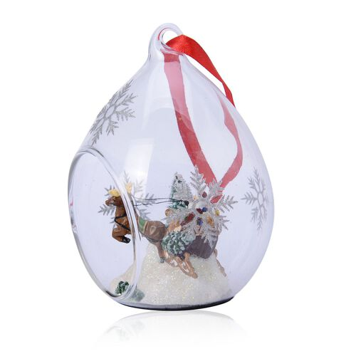 Home Decor - Set of 2 - Snowflake Glass Ornament with Santa and Reindeer inside (Size (Size 11x7 Cm)