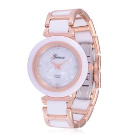 Diamond studded GENOA White Ceramic Japanese Movement MOP Dial Water Resistant Watch in Rose Gold Tone with Stainless Steel Back