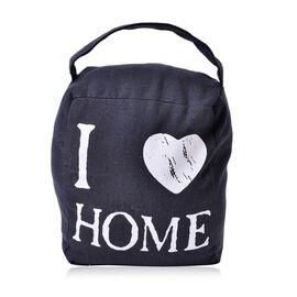I LOVE HOME Door Stopper Dark Grey Bag with Holder On Top (Size 15x14 Cm)