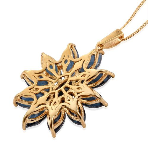Indicolite Quartz (Mrq) Floral Pendant With Chain in 14K Gold Overlay Sterling Silver 14.500 Ct.