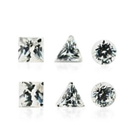 Set of 3 - AAA Simulated Diamond (Sqr, Rnd, Trl) Stud Earrings (with Push Back) in Sterling Silver