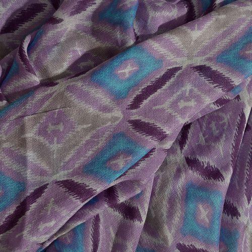 Blue, Purple and Multi Colour Rhombus Printed Scarf (Size 180x70 Cm)