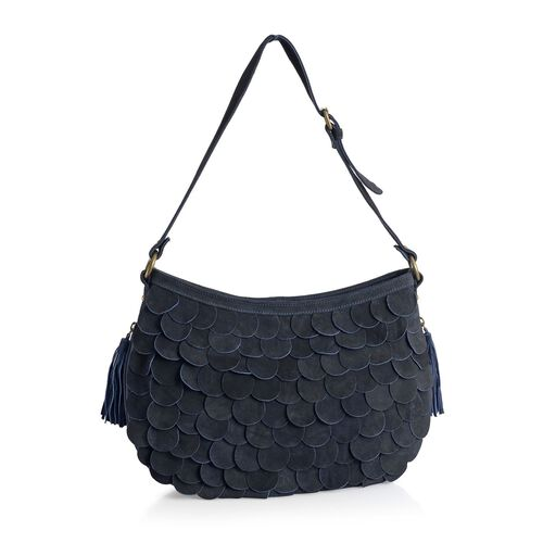 Ava Genuine Leather Navy Scalloped Shoulder Handbag with Adjustable Strap (Size 41x26 Cm)