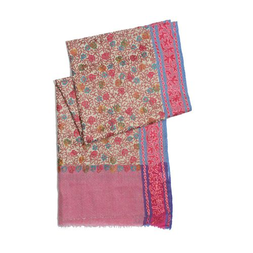 100% Merino Wool Multi Colour Flowers Cashmere Hand Embroidered Pink Colour Shawl (Size  200x70 Cm)