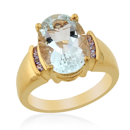 Espirito Santo Aquamarine (4.50 Ct)Tanzanite 14K Gold Overlay Sterling Silver Ring  4.615  Ct.