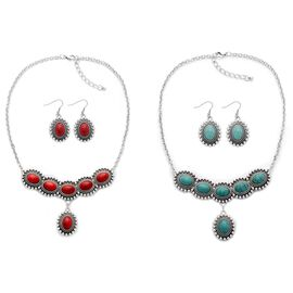 (Option 1) Reversable Red Howlite and Blue Howlite Necklace (Size 18 with 2 inch Extender) and Hook Earrings in Silver Tone 260.000 Ct.