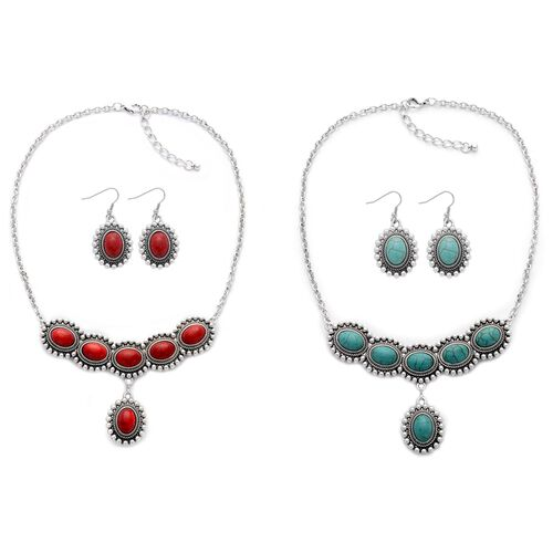 Reversable Red Howlite and Blue Howlite Necklace (Size 18 with 2 inch Extender) and Hook Earrings in Silver Tone 260.000 Ct.