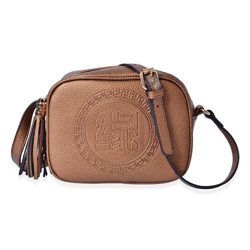 YUAN Collection Coffee Colour Crossbody Bag with Tassels and Adjustable Shoulder Strap (Size 21x17x9 Cm)