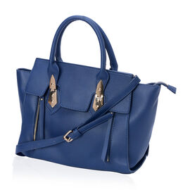 Navy Blue Perfect Pocket Tote Bag With Adjustable and Removable Strap (Size 38x23.5x10 Cm)