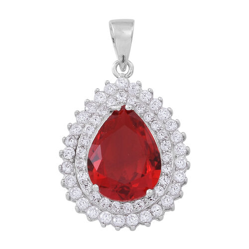 ELANZA AAA Simulated Ruby (Pear), Simulated White Diamond Pendant in Rhodium Plated Sterling Silver