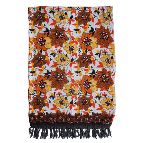 100% Rayon Orange and Multi Colour Floral Pattern White Colour Scarf (Size 160x110 Cm)