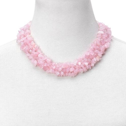 Rose Quartz Necklace (Size 18 with 2 inch Extender) in Silver Tone and Stretchable Bracelet (Size 7.5) 900.000 Ct.