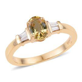 ILIANA 18K Yellow Gold 1.5 Carat AAA Yellow Sapphire and Diamond Ring