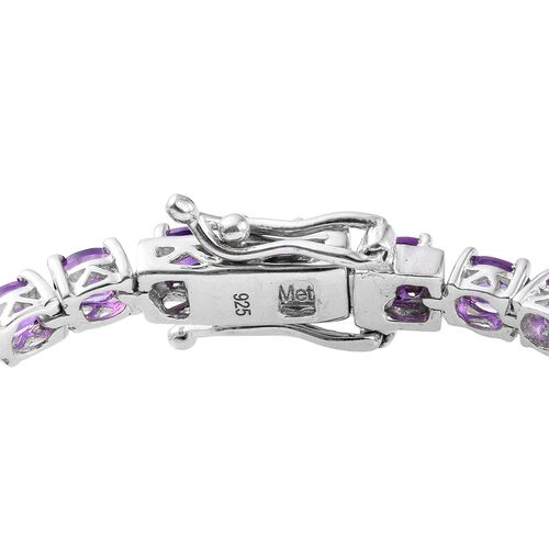 WEBEX- Amethyst (Ovl) Bracelet (Size 6.5) in Platinum Overlay Sterling Silver 5.500 Ct.