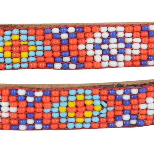 Genuine Leather Handmade Red, Yellow, White and Multi Colour Seed Beaded Belt (Size 110x1.25 Cm)