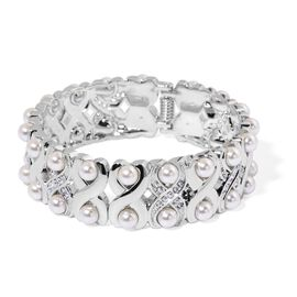 AAA White Austrian Crystal Hinged X Shape Bangle (Size 7.5) in Silver Tone