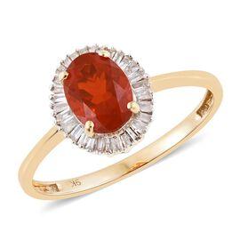 9K Y Gold AA Jalisco Fire Opal (Ovl 0.80 Ct), Diamond (I3/G-H) Ring 1.000 Ct.