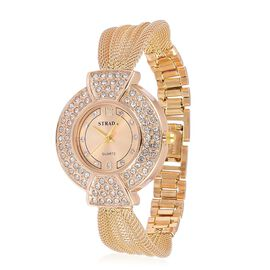 STRADA Japanese Movement Sunshine Dial with White Austrian Crystal Studded Watch in Gold Tone