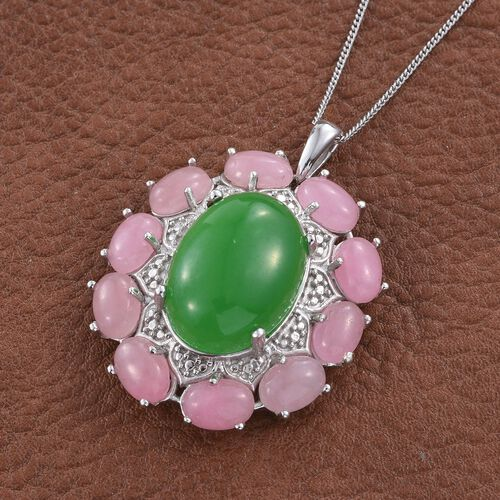 Green Jade (Ovl 14.45 Ct), Pink Jade Pendant with Chain in Platinum Overlay Sterling Silver 25.250 Ct.