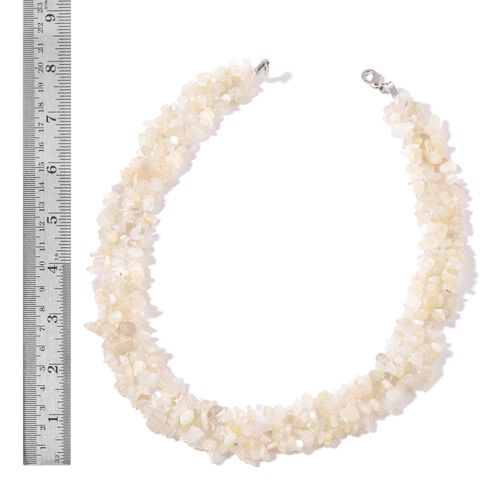 Sri Lankan White Moonstone Necklace (Size 18) and Stretchable Bracelet (Size 7.50) in Rhodium Plated Sterling Silver 685.900 Ct.