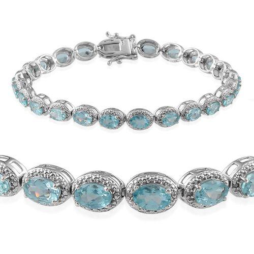 AA Paraibe Apatite (Ovl), Diamond Bracelet in Platinum Overlay Sterling Silver (Size 8) 8.650 Ct.