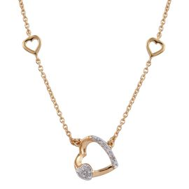 Diamond 3 Hearts Silver Necklace (Size 18) in 14K Gold Overlay 0.100 Ct.