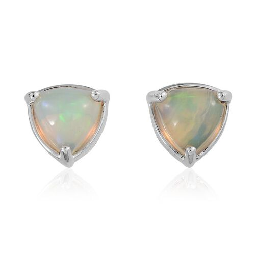 9K W Gold Ethiopian Welo Opal (Trl) Stud Earrings (with Push Back) 1.000 Ct.