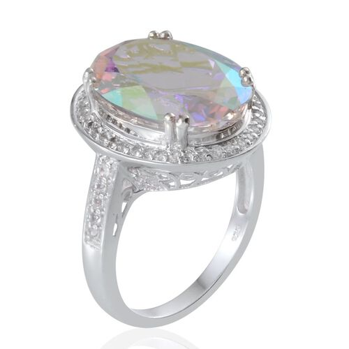 Mercury Mystic Topaz (Ovl 14.00 Ct), White Topaz Ring in Platinum Overlay Sterling Silver 14.500 Ct.