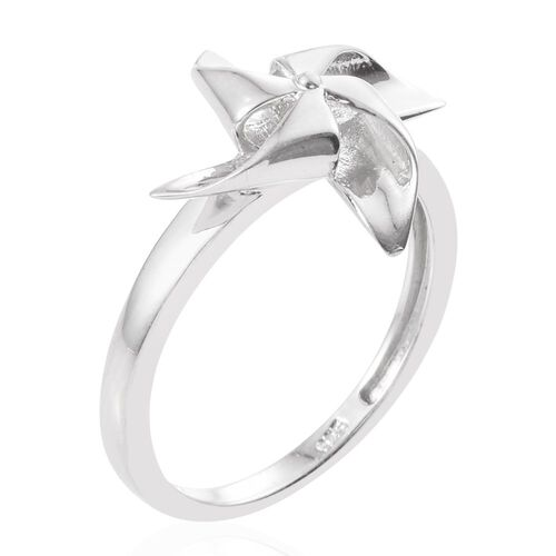 Origami Wind Mill Ring in Platinum Overlay Sterling Silver, Silver wt 3.30 Gms.