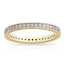 9K Yellow Gold SGL Certified Diamond (Rnd) (I3/G-H) Full Eternity Wedding Band Ring 0.500 Ct.