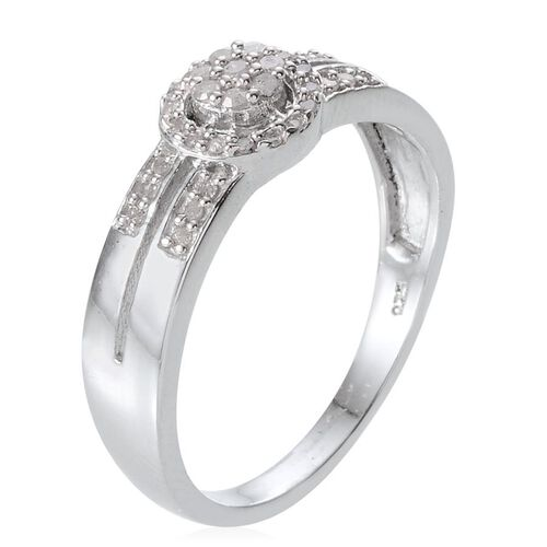 Diamond (Rnd) Ring in Platinum Overlay Sterling Silver 0.300 Ct.