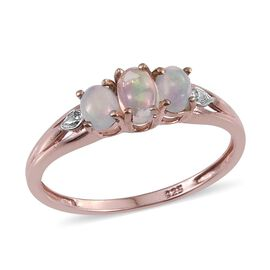 Ethiopian Welo Opal (Ovl) 3 Stone Ring in Rose Gold Overlay Sterling Silver 0.500 Ct.