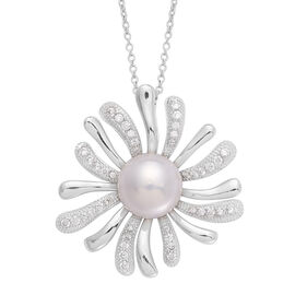 Fresh Water White Pearl and Simulated White Diamond Pendant in Silver Tone with Stainless Steel Chain (Size 20)