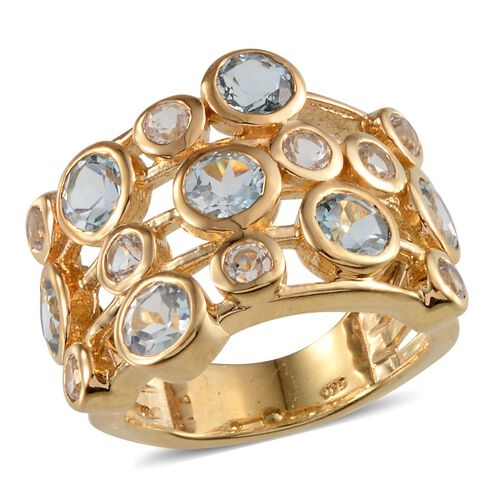 Sky Blue Topaz (Rnd), White Topaz Ring in 14K Gold Overlay Sterling Silver 5.750 Ct.